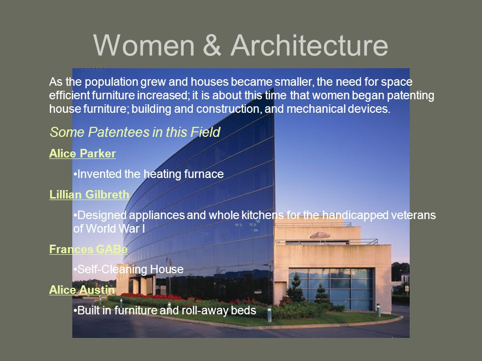 Women & Architecture Some Patentees in this Field