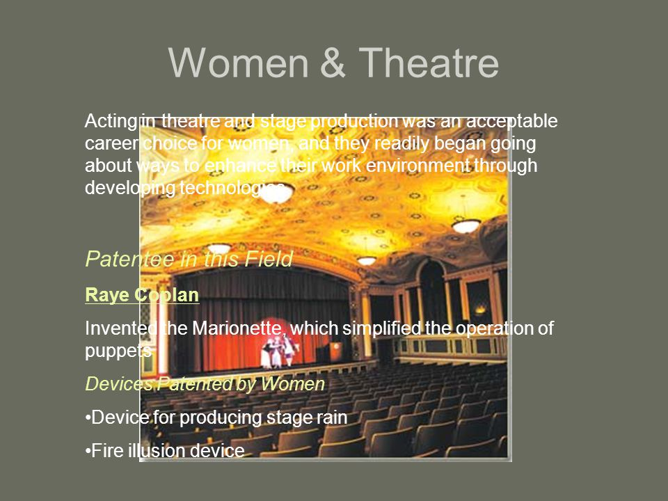 Women & Theatre Patentee in this Field