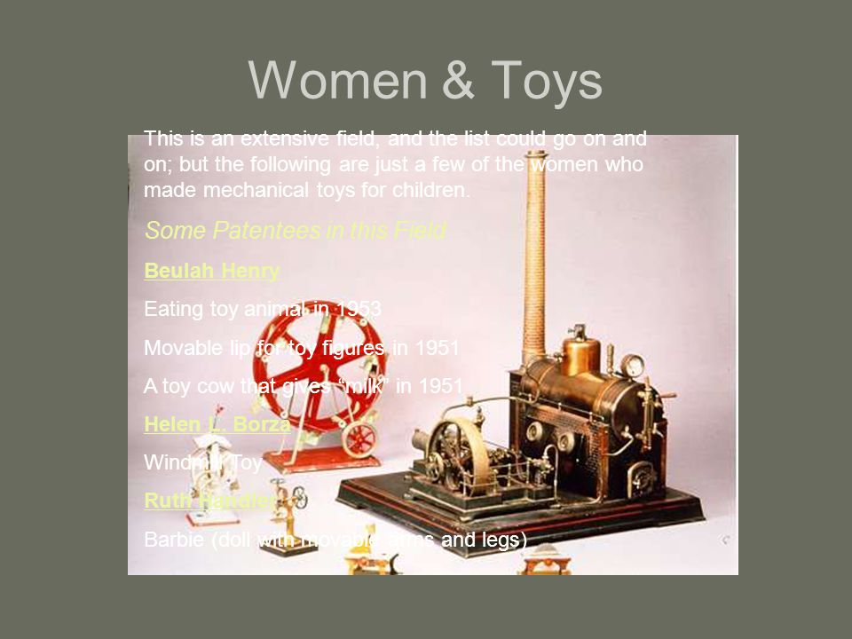 Women & Toys Some Patentees in this Field