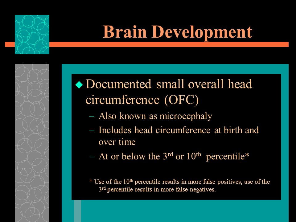 Brain Development Documented small overall head circumference (OFC)