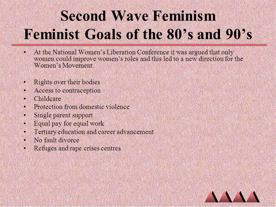Second Wave Feminism Feminist Goals of the 80's and 90's