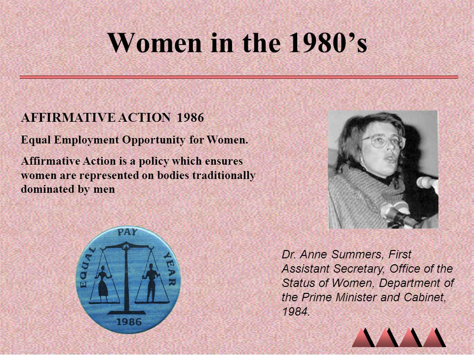 Women in the 1980's AFFIRMATIVE ACTION 1986