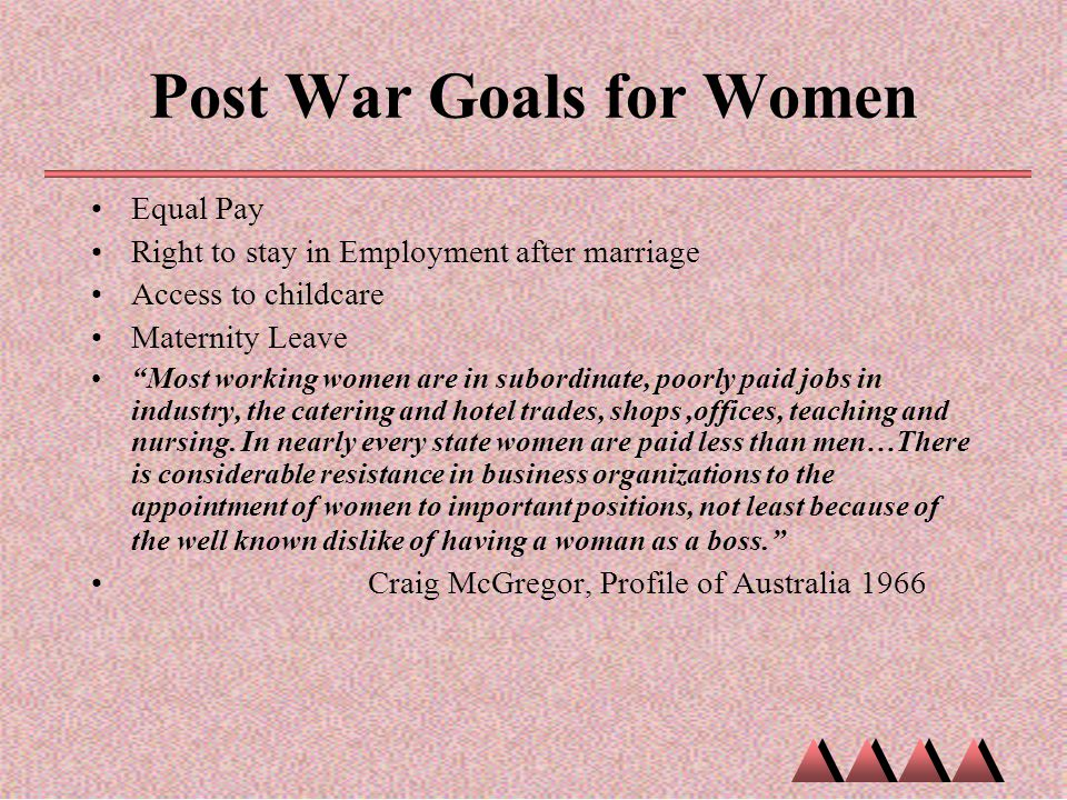 Post War Goals for Women