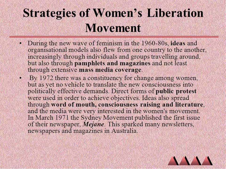 Strategies of Women's Liberation Movement