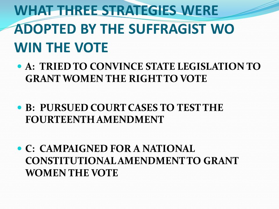 WHAT THREE STRATEGIES WERE ADOPTED BY THE SUFFRAGIST WO WIN THE VOTE