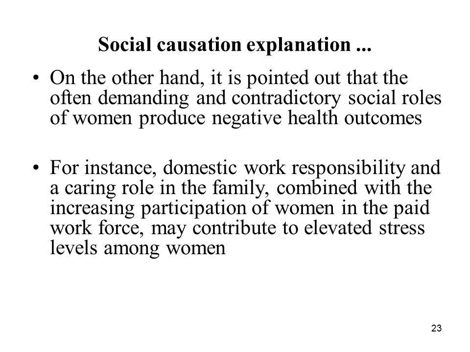 Social causation explanation ...