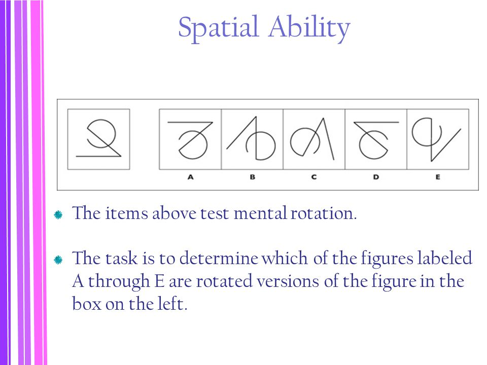 Spatial Ability The items above test mental rotation.