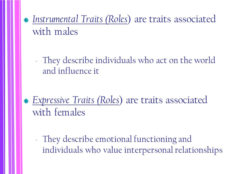 Instrumental Traits (Roles) are traits associated with males