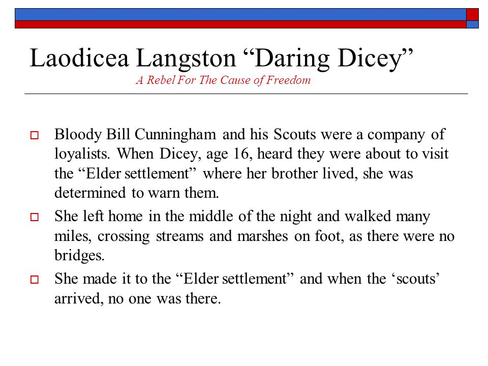 Laodicea Langston Daring Dicey A Rebel For The Cause of Freedom