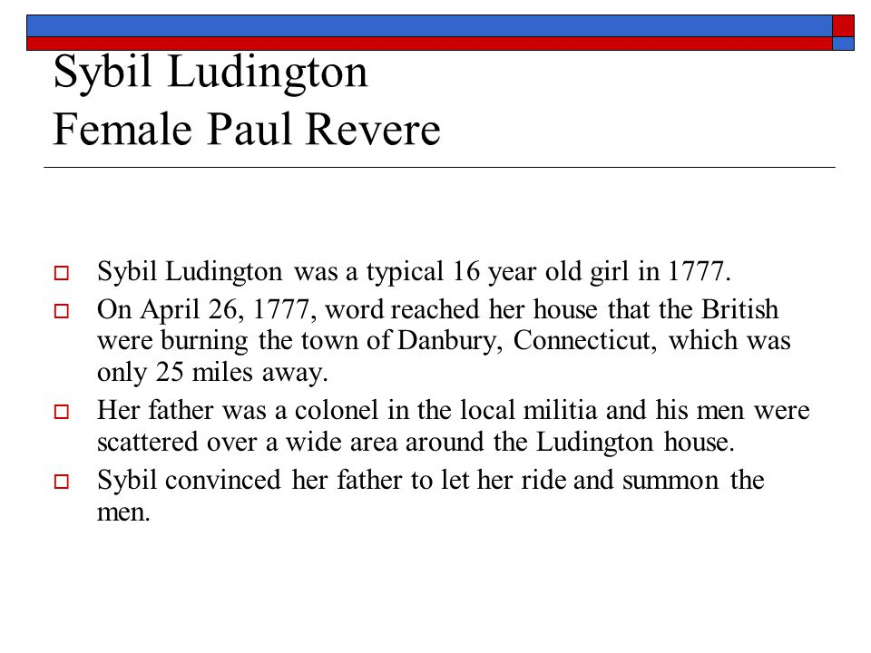 Sybil Ludington Female Paul Revere