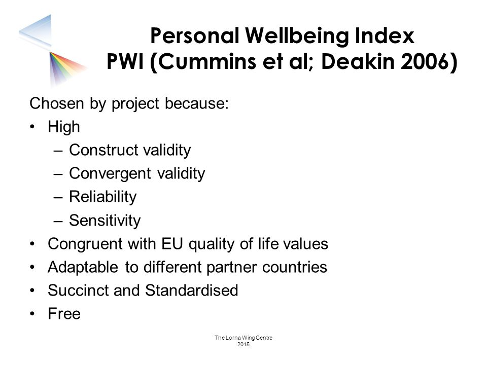 Personal Wellbeing Index PWI (Cummins et al; Deakin 2006)