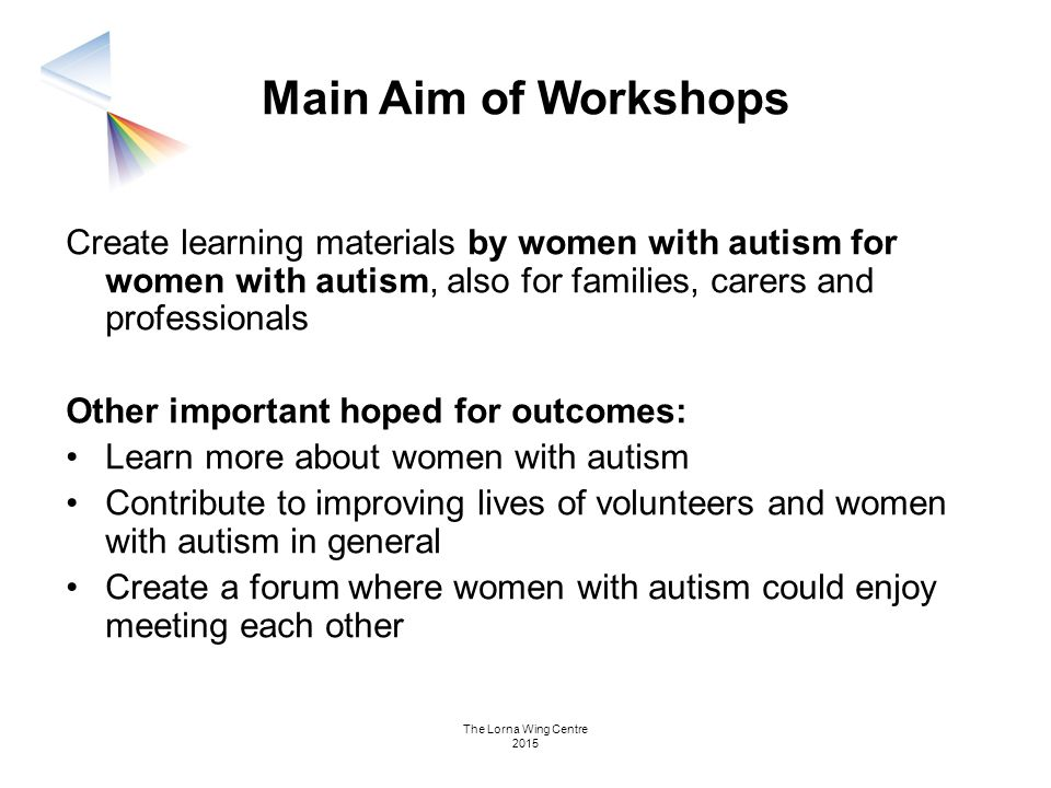 Main Aim of Workshops Create learning materials by women with autism for women with autism, also for families, carers and professionals.