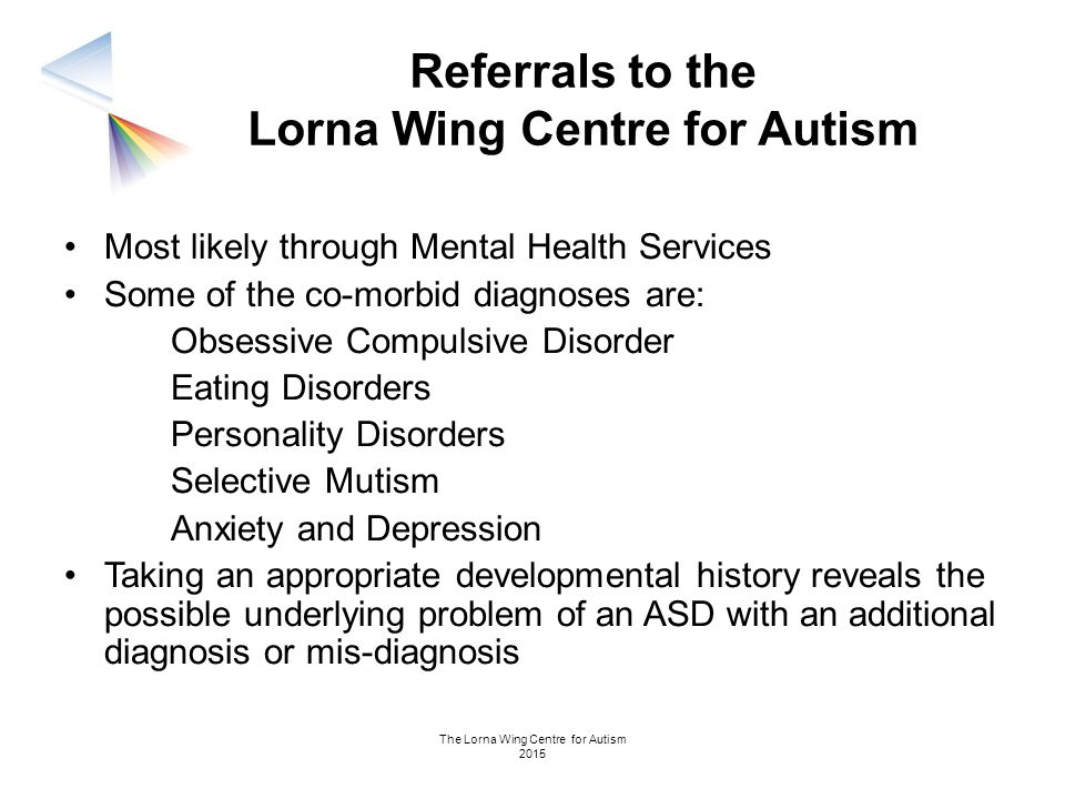 Referrals to the Lorna Wing Centre for Autism