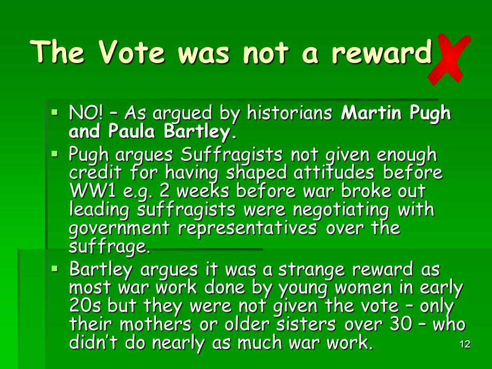 The Vote was not a reward