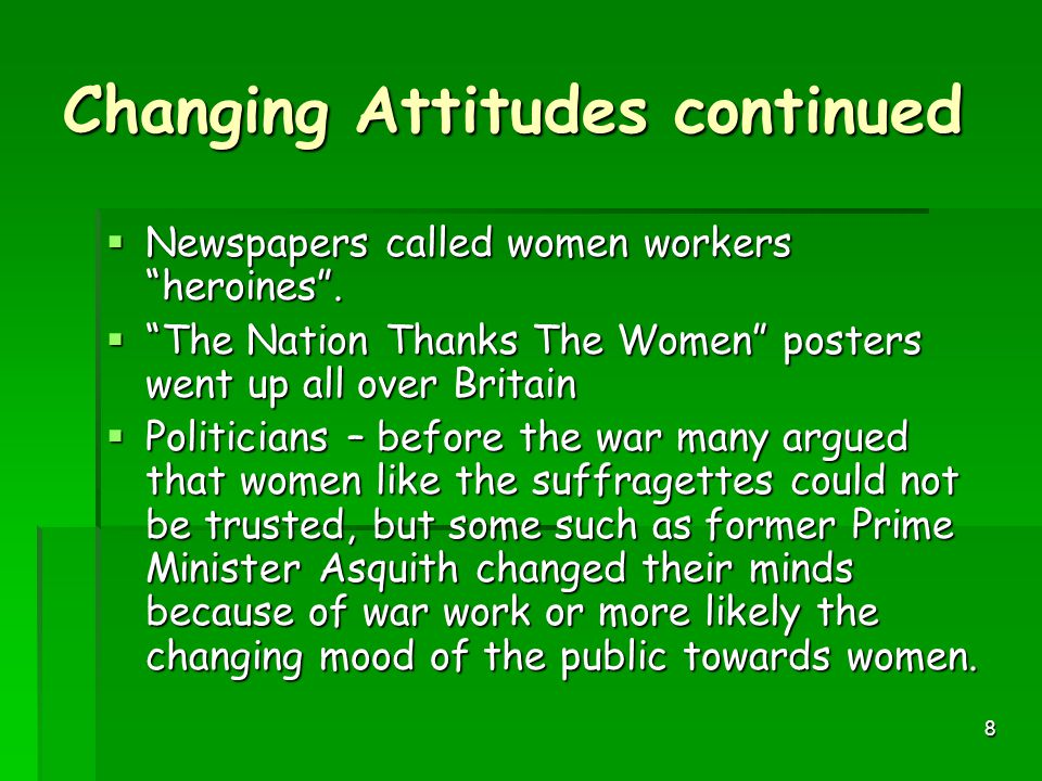Changing Attitudes continued