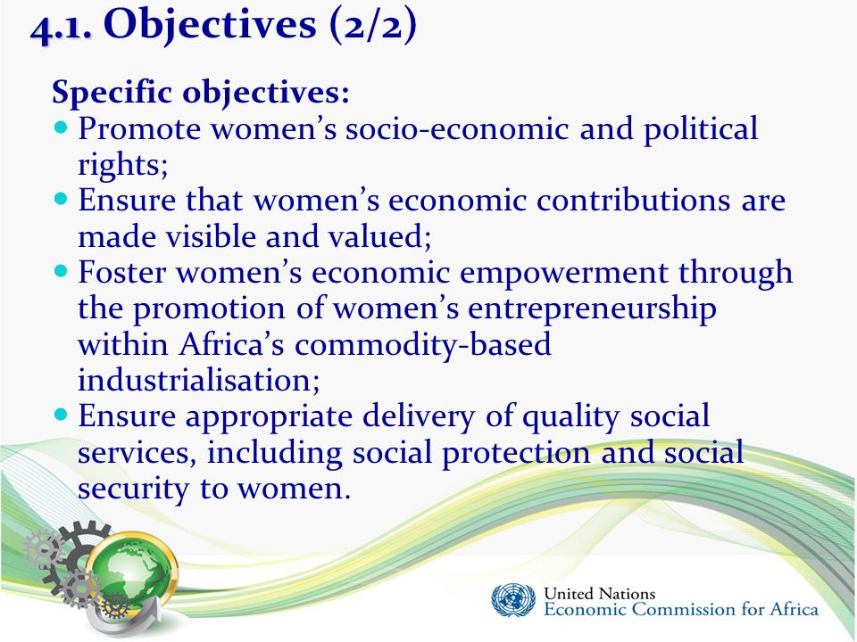 4.1. Objectives (2/2) Specific objectives: