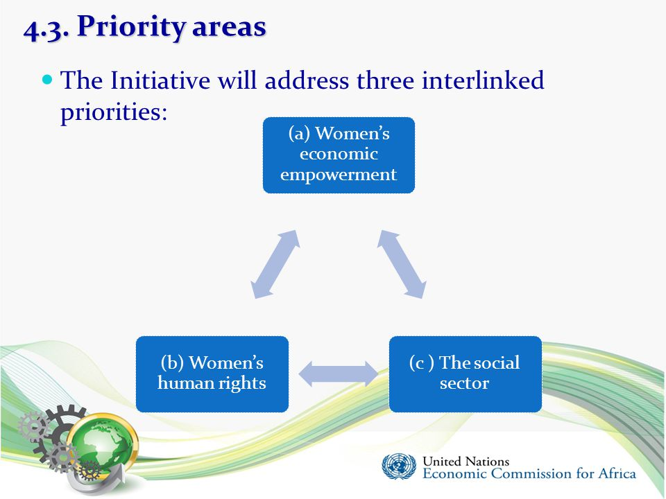 4.3. Priority areas The Initiative will address three interlinked priorities: (a) Women's economic empowerment.