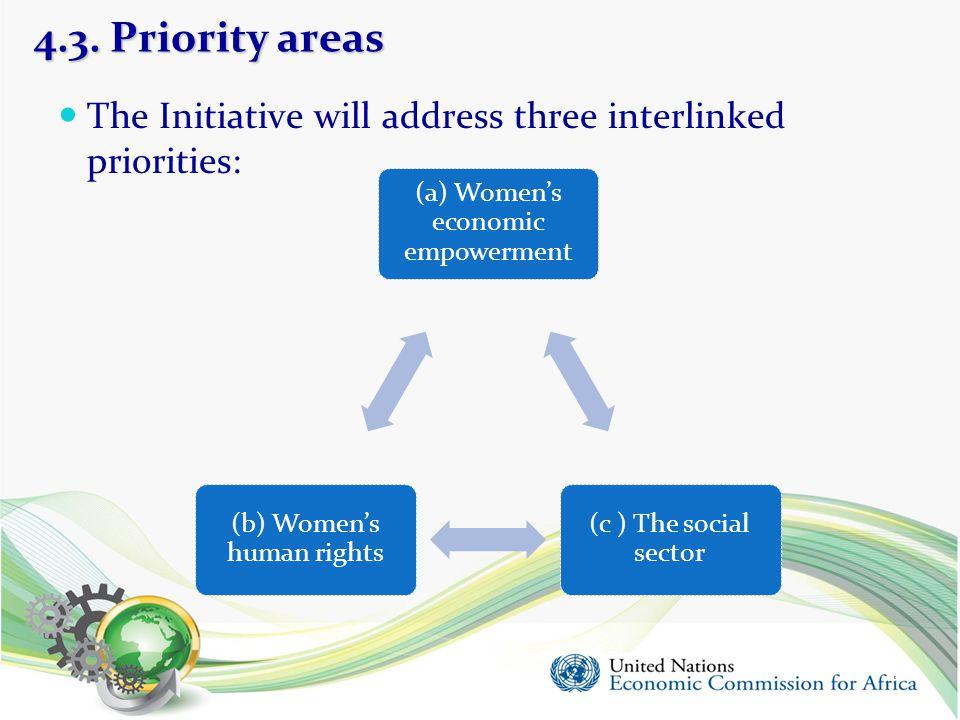 4.3. Priority areas The Initiative will address three interlinked priorities: (a) Women's economic empowerment.