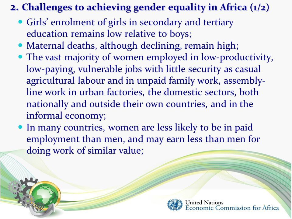 2. Challenges to achieving gender equality in Africa (1/2)