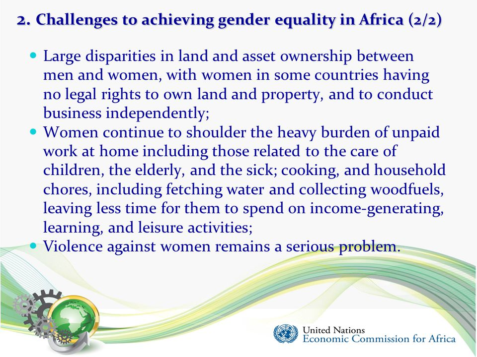 2. Challenges to achieving gender equality in Africa (2/2)