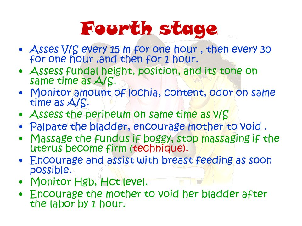 Fourth stage Asses V/S every 15 m for one hour , then every 30 for one hour ,and then for 1 hour.
