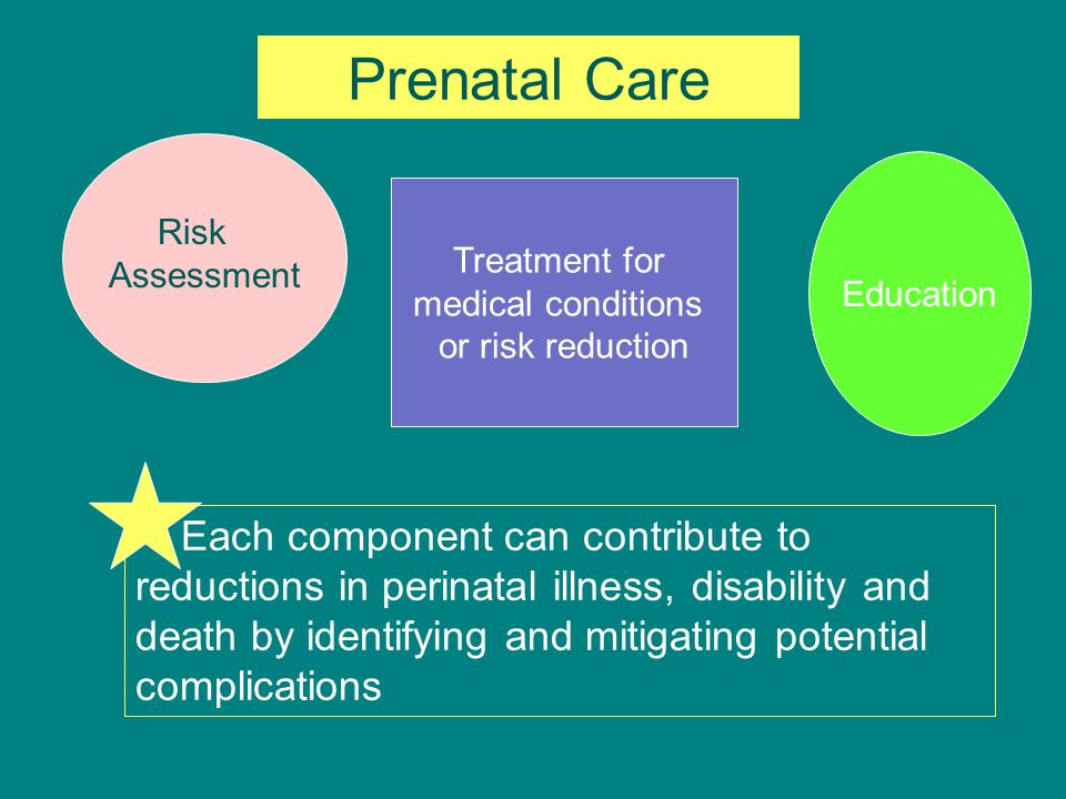 Prenatal Care Education. Treatment for. medical conditions. or risk reduction. Risk. Assessment.
