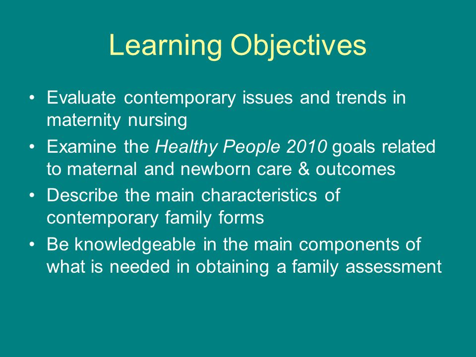 Learning Objectives Evaluate contemporary issues and trends in maternity nursing.