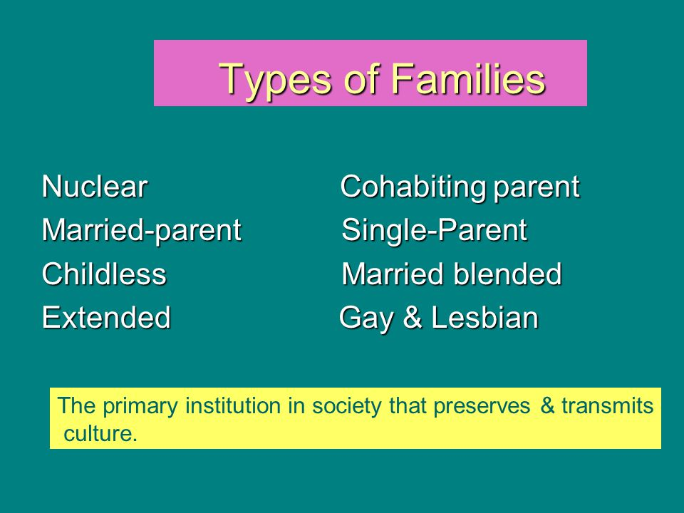 Types of Families Nuclear Cohabiting parent
