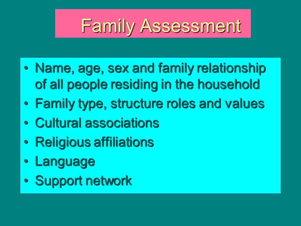 Family Assessment Name, age, sex and family relationship of all people residing in the household. Family type, structure roles and values.