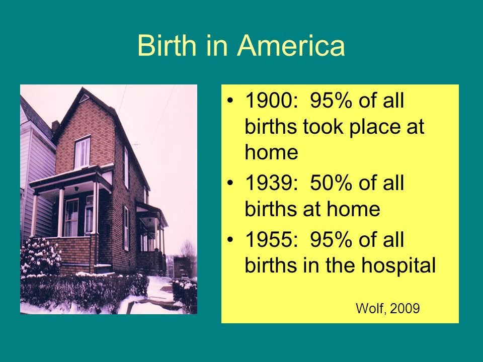 Birth in America 1900: 95% of all births took place at home
