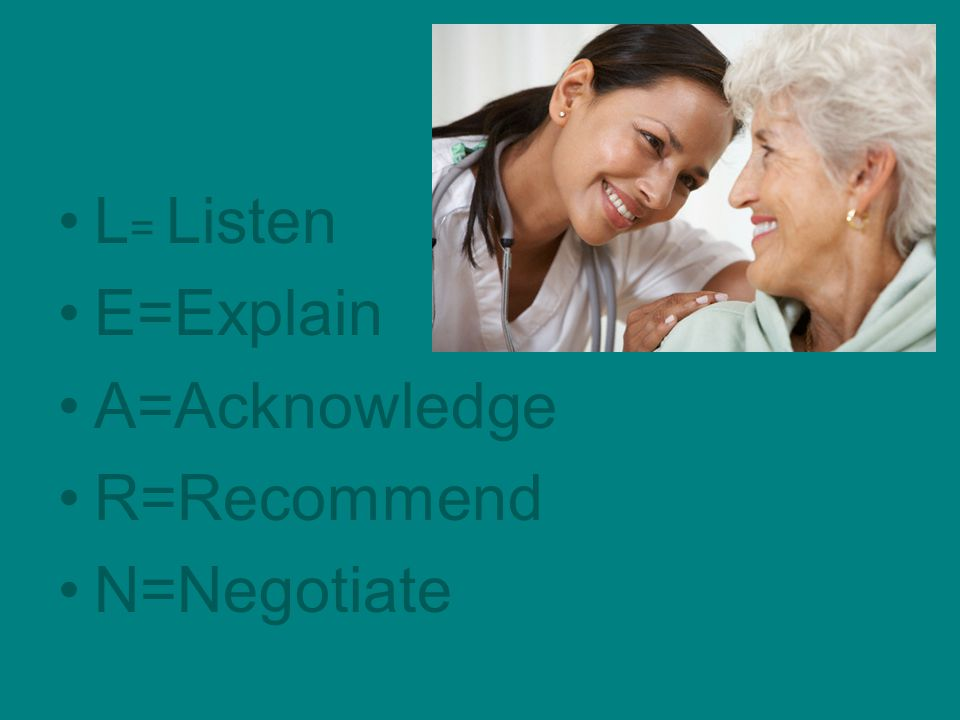 L= Listen E=Explain A=Acknowledge R=Recommend N=Negotiate