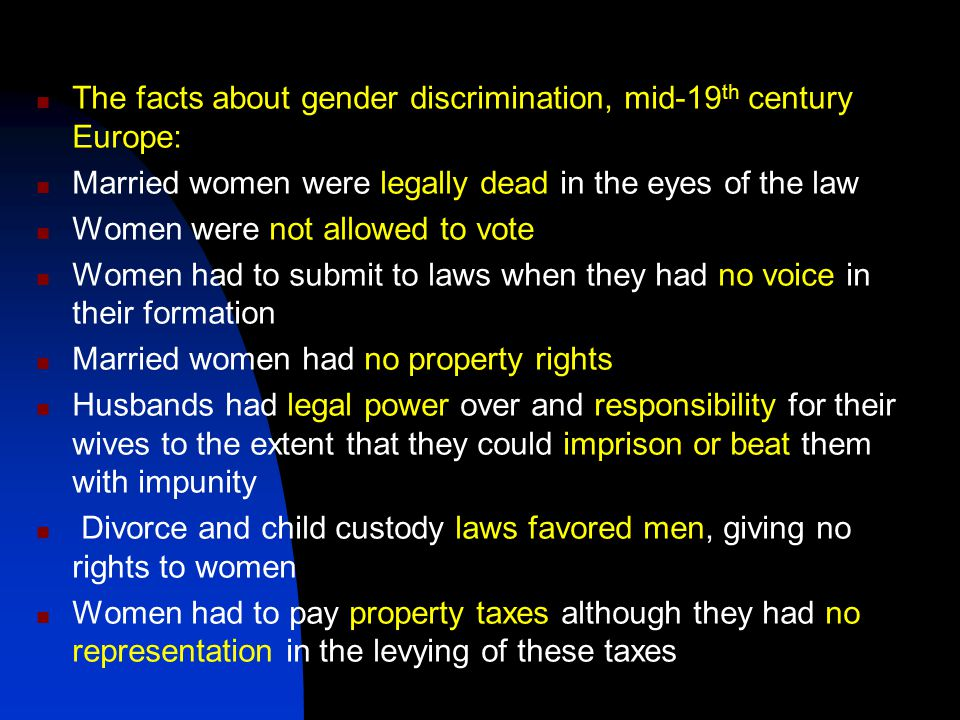 The facts about gender discrimination, mid-19th century Europe: