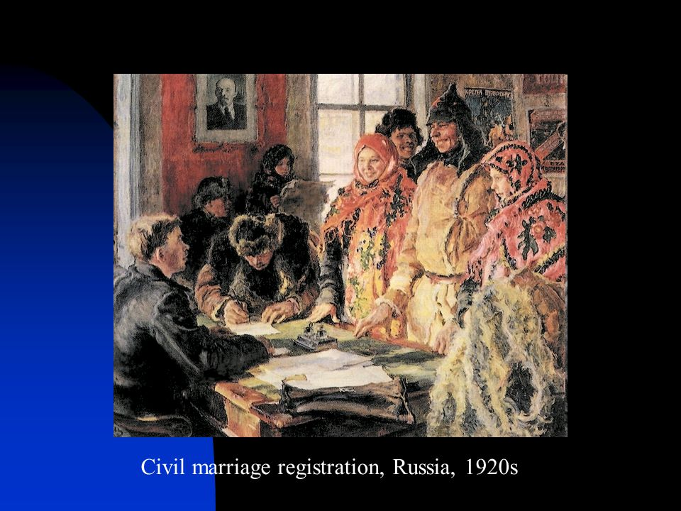 Civil marriage registration, Russia, 1920s