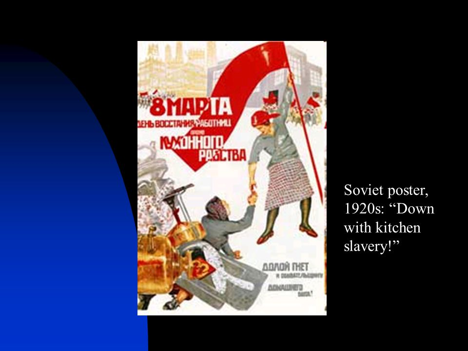 Soviet poster, 1920s: Down with kitchen slavery!