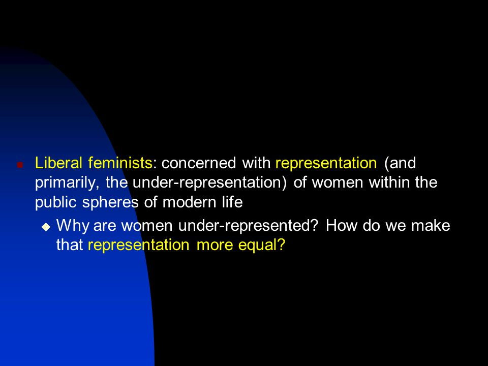 Liberal feminists: concerned with representation (and primarily, the under-representation) of women within the public spheres of modern life