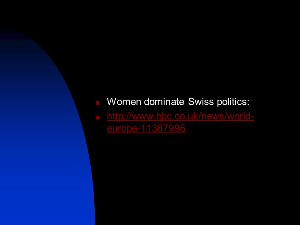 Women dominate Swiss politics:
