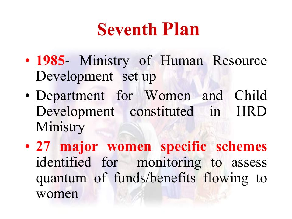 Seventh Plan 1985- Ministry of Human Resource Development set up