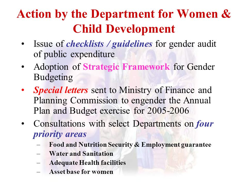 Action by the Department for Women & Child Development
