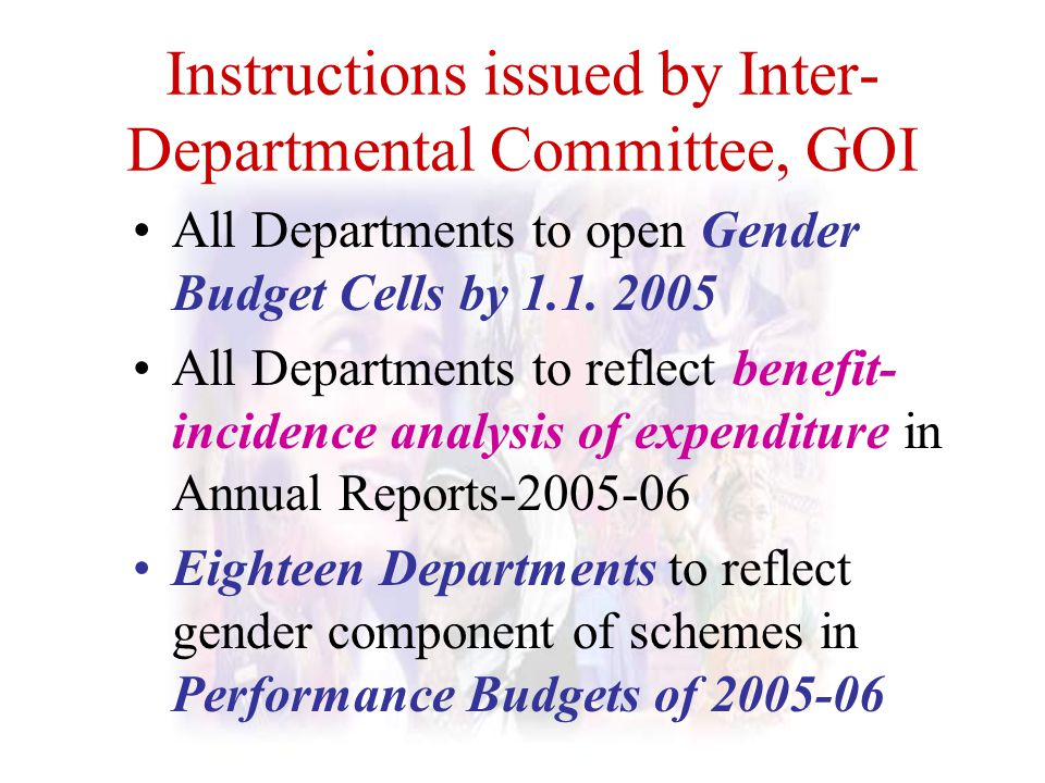 Instructions issued by Inter-Departmental Committee, GOI