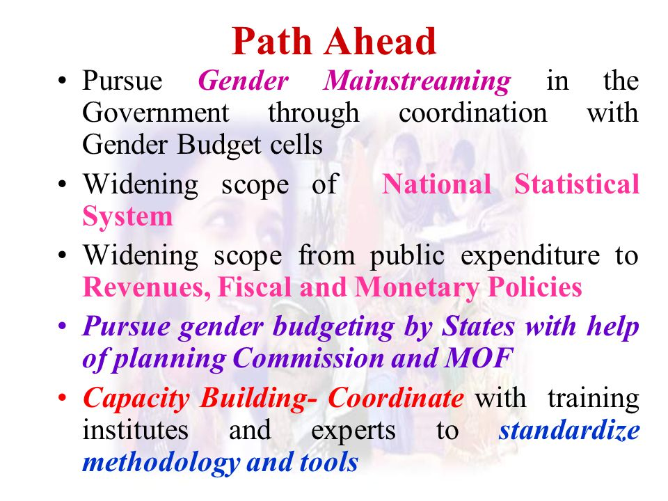 Path Ahead Pursue Gender Mainstreaming in the Government through coordination with Gender Budget cells.