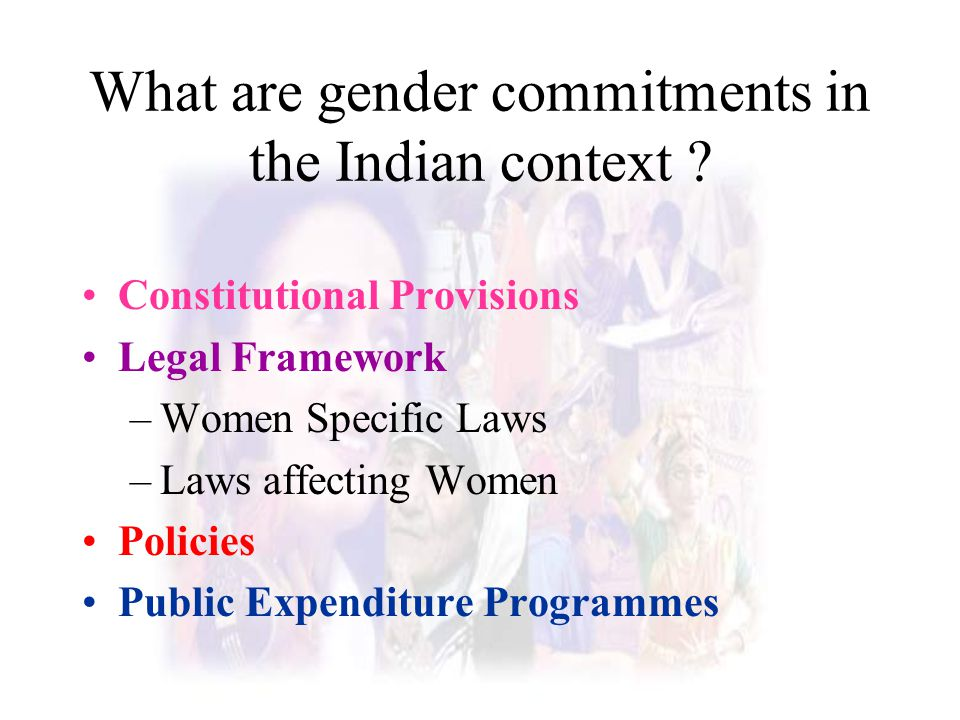 What are gender commitments in the Indian context