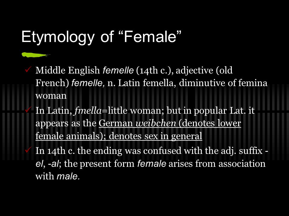 Etymology of Female Middle English femelle (14th c.), adjective (old French) femelle, n. Latin femella, diminutive of femina woman.