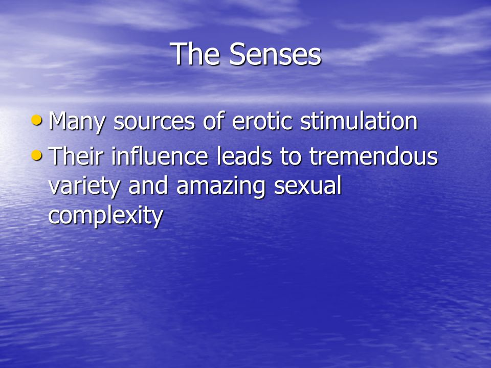 The Senses Many sources of erotic stimulation