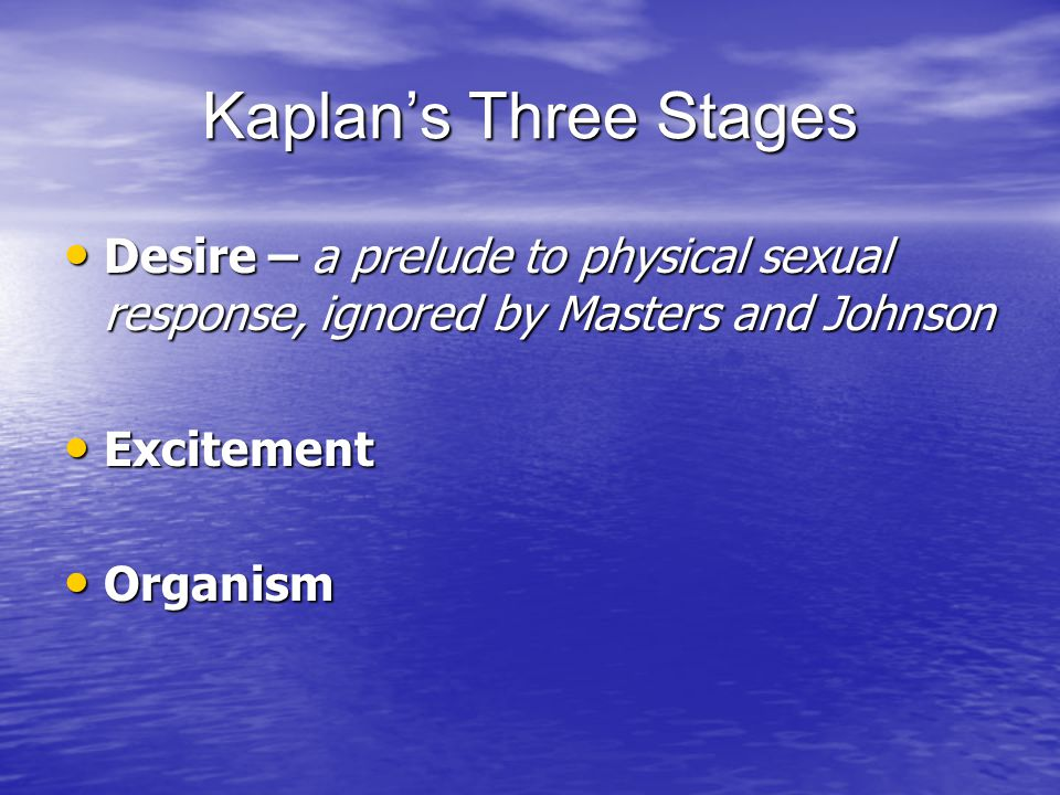 Kaplan's Three Stages Desire – a prelude to physical sexual response, ignored by Masters and Johnson.