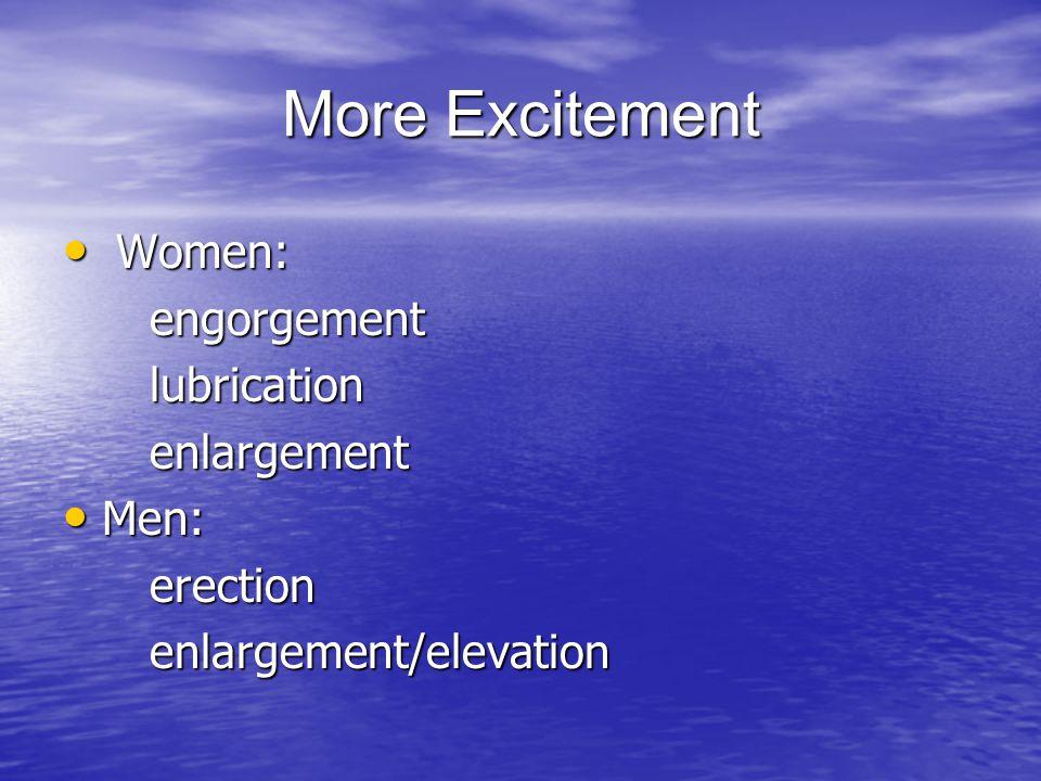More Excitement Women: engorgement lubrication enlargement Men: