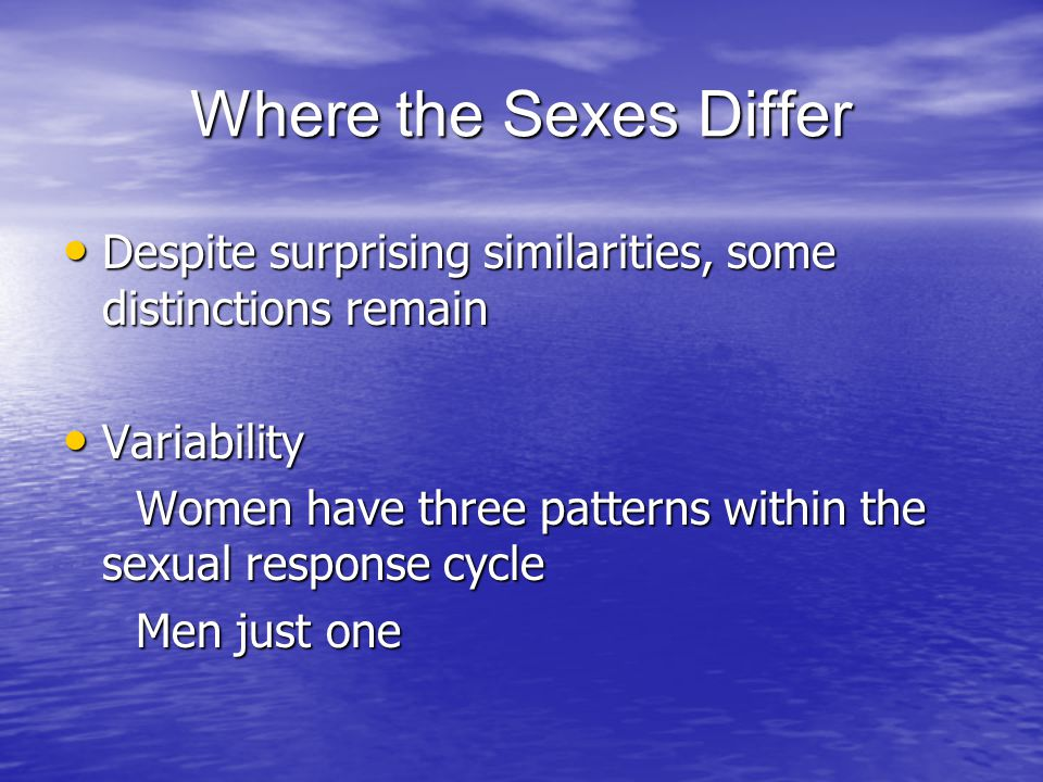 Where the Sexes Differ Despite surprising similarities, some distinctions remain. Variability.