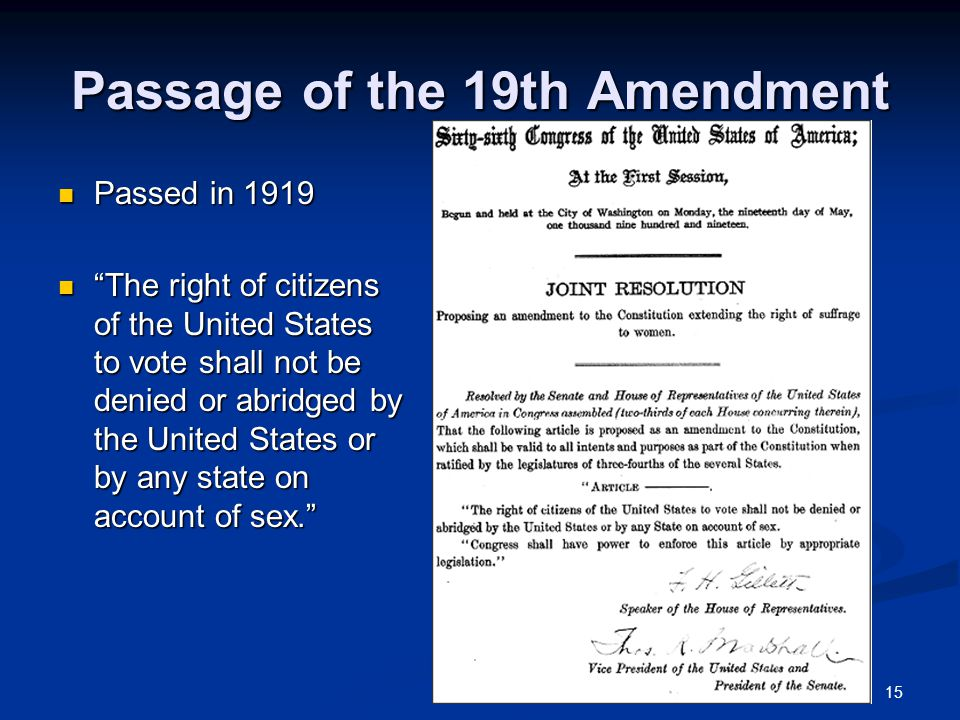 Passage of the 19th Amendment