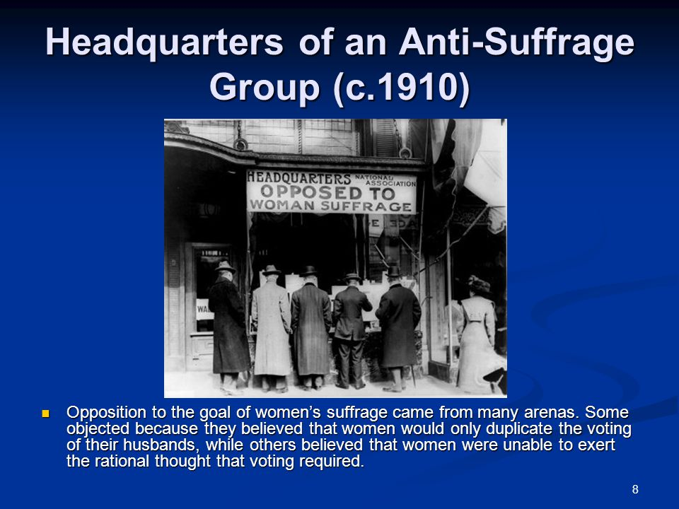Headquarters of an Anti-Suffrage Group (c.1910)