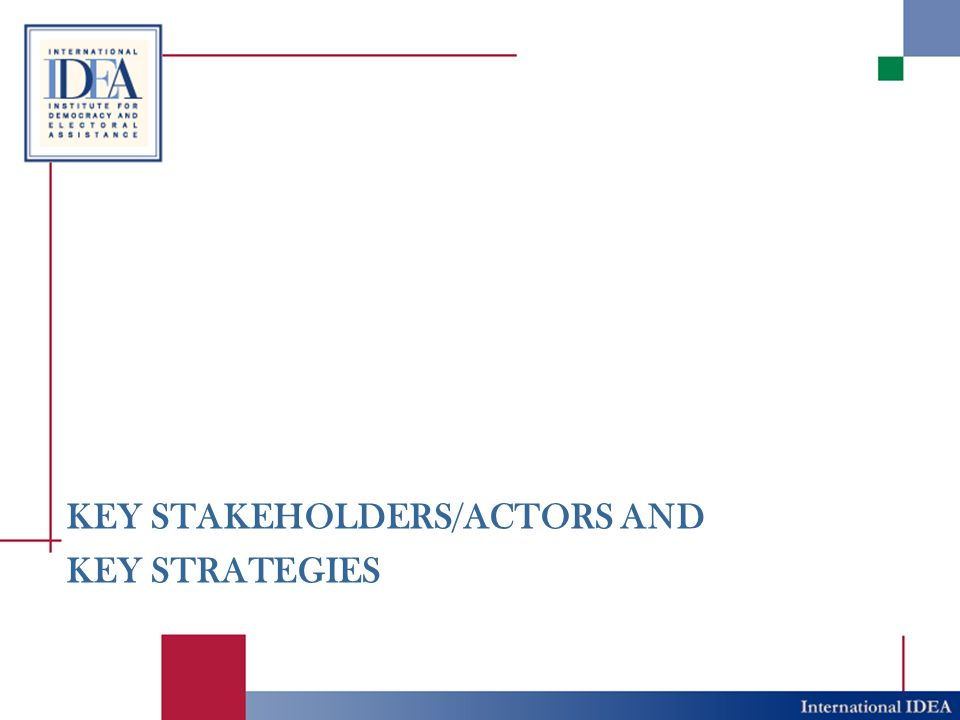 KEY STAKEHOLDERS/ACTORS AND KEY STRATEGIES