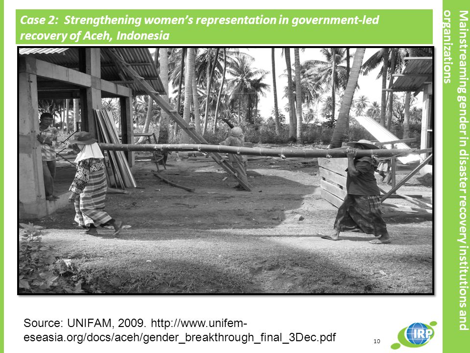 Case 2: Strengthening women's representation in government-led recovery of Aceh, Indonesia